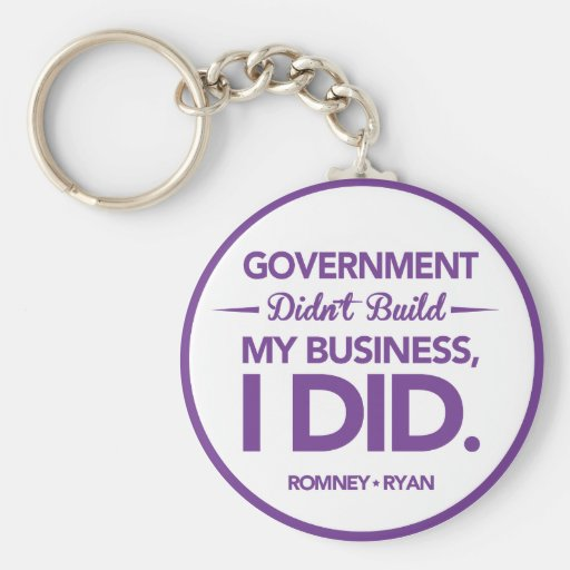 Government Didn't Build My Business Purple Border Key Chain