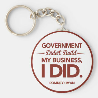 Government Didn't Build My Business Red Border Basic Round Button Keychain