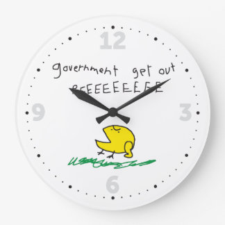Government get out REE SNEKRIGHT Gadsden Flag Large Clock