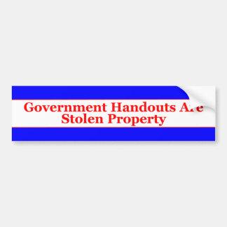 Government Handouts Bumper Sticker