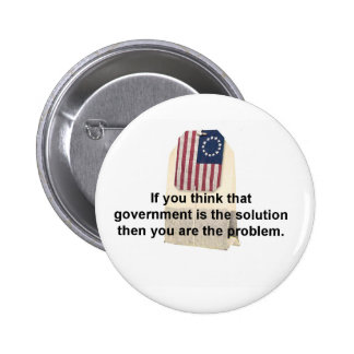 Government is the Problem, Not the Solution Pinback Buttons