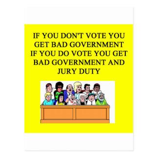government jury duty joke postcard