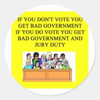 government jury duty joke round stickers