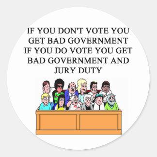 government jury duty joke round sticker