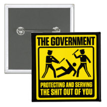Government Warning Button Pin