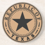 """Governor of Texas Sandstone Coaster<br><div class=""""desc"""">Proudly displays the Seal of the Republic of Texas (1836 - 1839),  a bold black star encircled by the words &quot;Republic of Texas&quot;.</div>"""