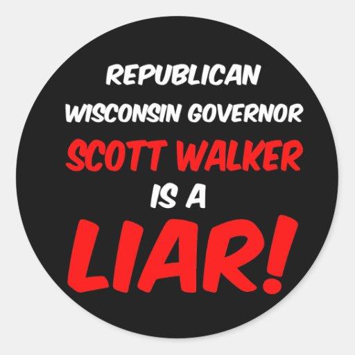 governor scott walker classic round sticker