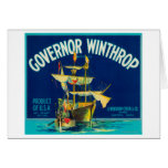 Governor Winthrop Apple Label (blue) - Yakima, W Greeting Cards