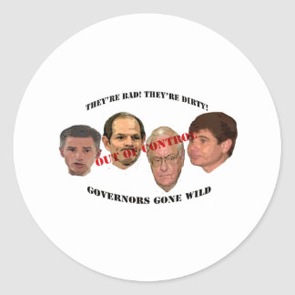 governors gone wild classic round sticker