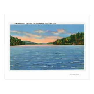 Govt. Free Camp Sites View of Lower Saranac Lake Postcard