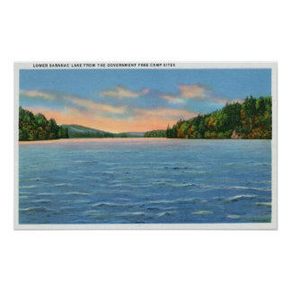 Govt. Free Camp Sites View of Lower Saranac Lake Poster