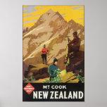 Govt Tourist Dept Mt Cook New Zealand, Vintage Poster