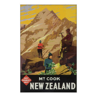 Govt Tourist Dept Mt Cook New Zealand, Vintage Poster