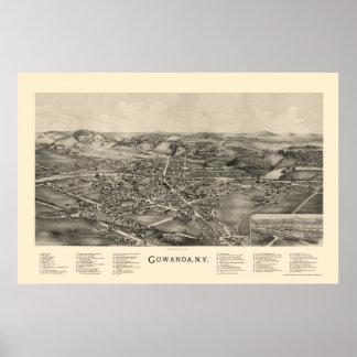 Gowanda, mapa panorámico de NY - 1892 Impresiones