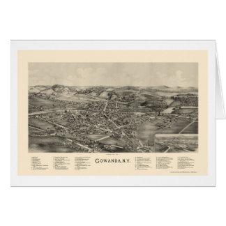 Gowanda mapa panorámico de NY - 1892 Felicitacion