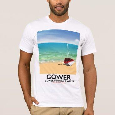 Beach Themed Gower Peninsula Wales beach poster T-Shirt