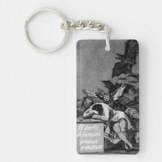 Goya el sueño de la razón produce a monstruos llavero rectangular acrílico a una cara
