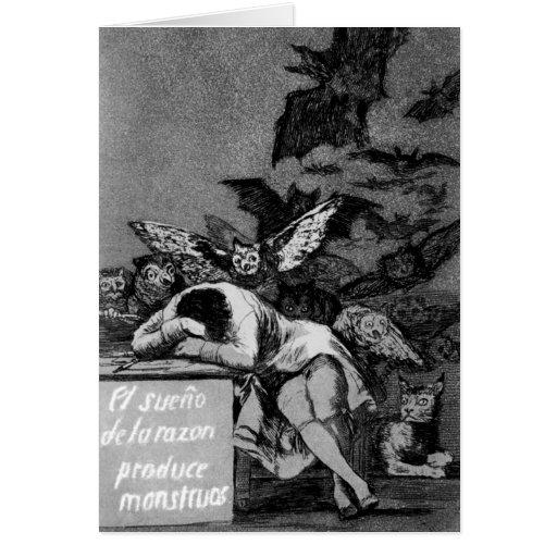 Goya el sueño de la razón produce a monstruos tarjeta de felicitación