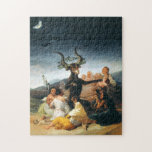 """Goya Witches Sabbath Puzzle<br><div class=""""desc"""">Goya Witches' Sabbath puzzle. Oil painting on canvas from 1798. Spanish painter Francisco Goya frequently drew on occult and mystical themes within his work. Witches' Sabbath is one of Goya's most famous paintings due to its dark subject matter and sense of the macabre. A coven of witches sits gathered around...</div>"""