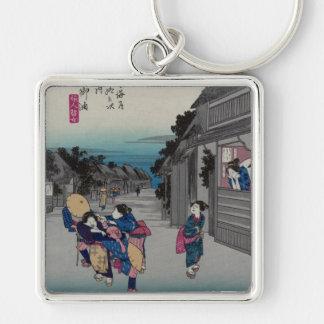 Goyu - Ando Hiroshige Llavero Cuadrado Plateado