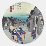 Goyu por Ando, Hiroshige Ukiyoe Etiquetas Redondas