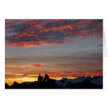 Gozando de un notecard de la puesta del sol del felicitacion