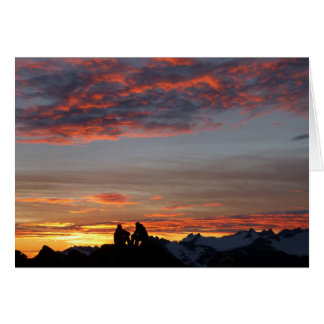 Gozando de un notecard de la puesta del sol del tarjeta de felicitación