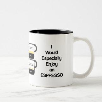 Gozaría especialmente de un café express taza de dos tonos
