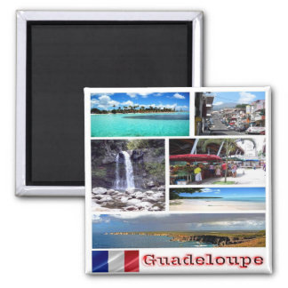 GP - Guadeloupe - Collage Mosaic 2 Inch Square Magnet