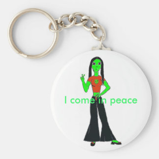 gpthic-alien, I come in peace Keychain