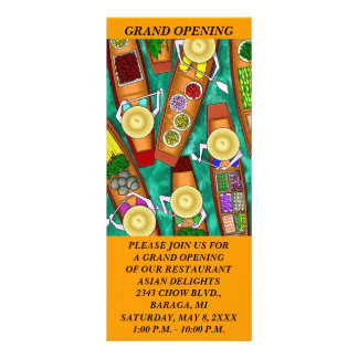 GR8 COLORFUL ABSTRACT ASIAN FOOD THEMED Rack Cards