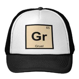 GR - Símbolo de la tabla periódica de la química Gorros Bordados