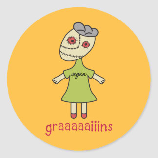 Graaaaaiins Vegan Zombie Classic Round Sticker
