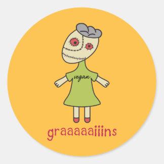 Graaaaaiins Vegan Zombie Round Sticker