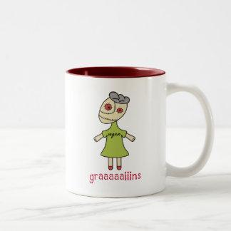 Graaaaaiins Vegan Zombie Two-Tone Coffee Mug