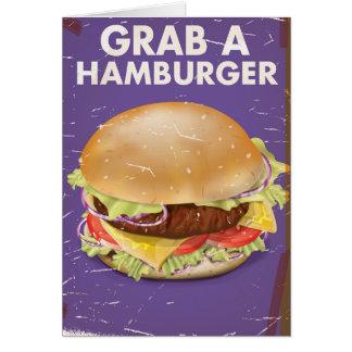 Grab a Hamburger Vintage Food Poster. Card