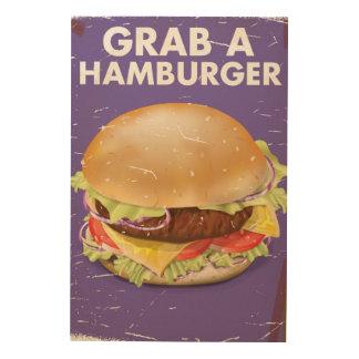 Grab a Hamburger Vintage Food Poster. Wood Wall Art