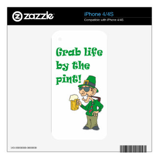 GRAB LIFE BY THE PINT iPhone 4S DECALS