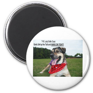 Grab Life by the Tail and HANG ON TIGHT! 2 Inch Round Magnet