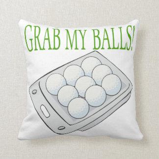 Grab My Balls Throw Pillows