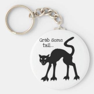 GRAB SOME TAIL...HALLOWEEN BLACK CAT PRINT KEYCHAIN