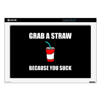 Grab Straw You Suck Decal For Laptop