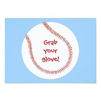 "Grab your glove, baseball birthday invitations 5"" x 7"" invitation card"
