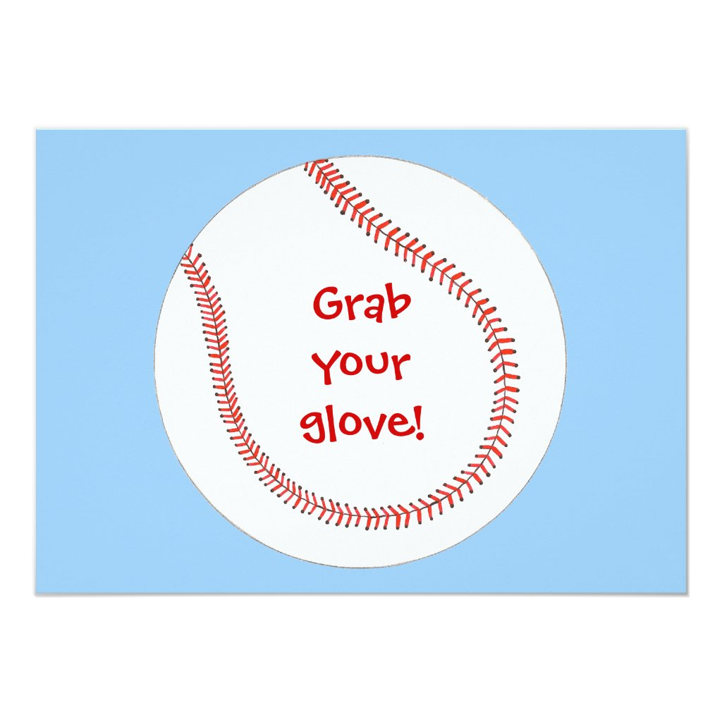 Grab your glove, baseball birthday invitations