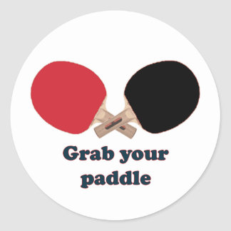 Grab Your Paddle Ping Pong Classic Round Sticker