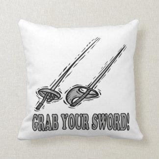 Grab Your Sword Throw Pillows