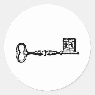 Grabado antiguo de la llave maestra pegatinas redondas