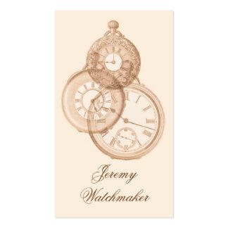 Grabado antiguo de los relojes de bolsillo tarjetas de visita