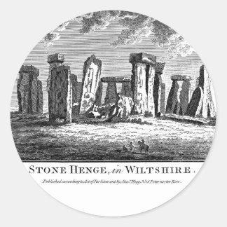 Grabado antiguo del círculo de la piedra del graba etiqueta redonda