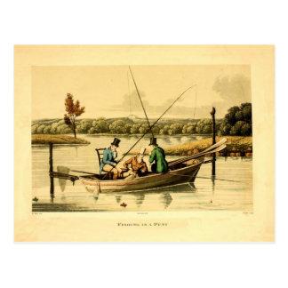 grabado antiguo del color 1820, pesca en una batea tarjeta postal